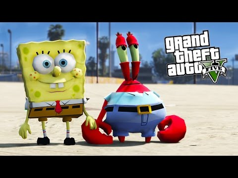 SPONGEBOB & MR.KRABS GTA 5 MOD - SAVING MR.KRABS BUSINESS EP.2