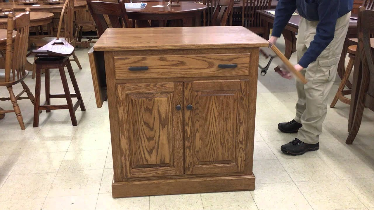 Amish Drop Leaf Kitchen Island Demonstration
