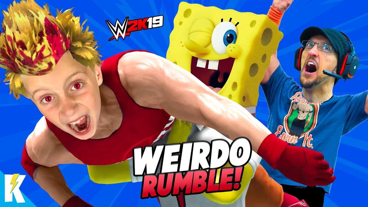 Weirdest Royal Rumble EVER! (Evil KidCity, FGTEEV Duddy & Spongebob) in WWE 2k19 | KIDCITY GAMIN