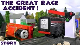 thomas and friends the great race accident naughty diesel   family fun minions toy story for kids