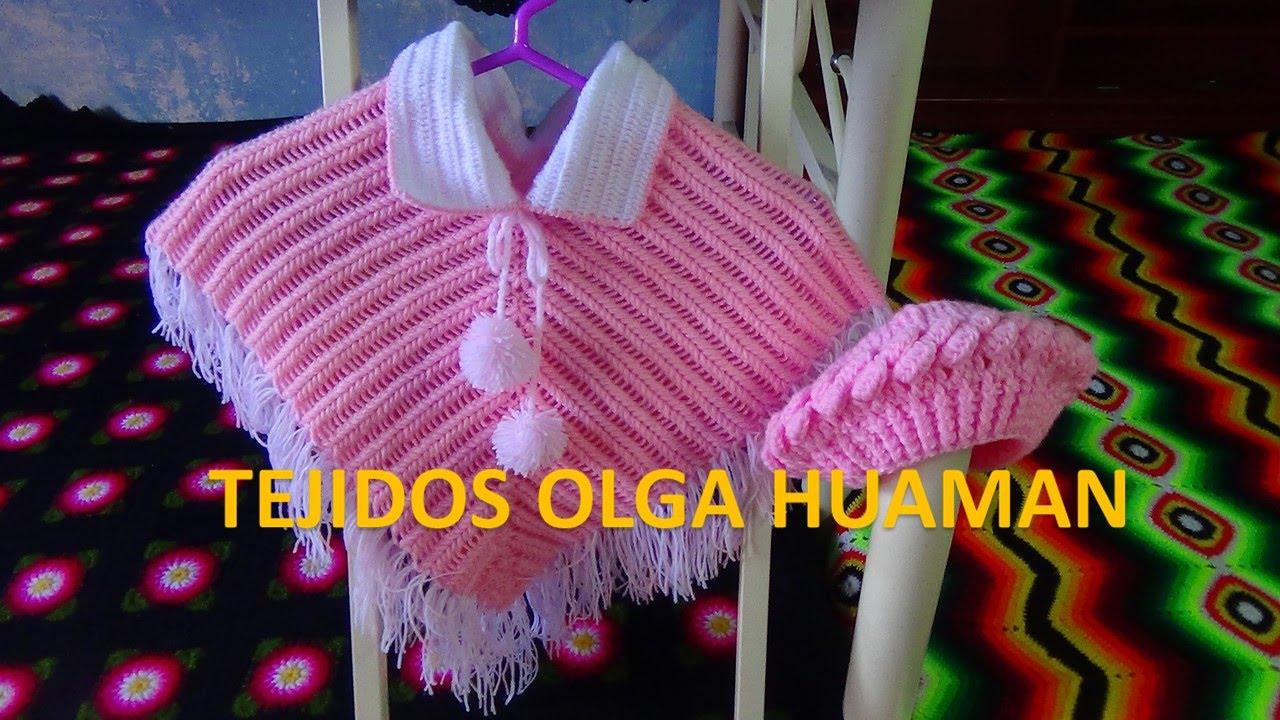 poncho tejido a crochet para bebe o niña en PUNTO ESPIGA paso a paso ...