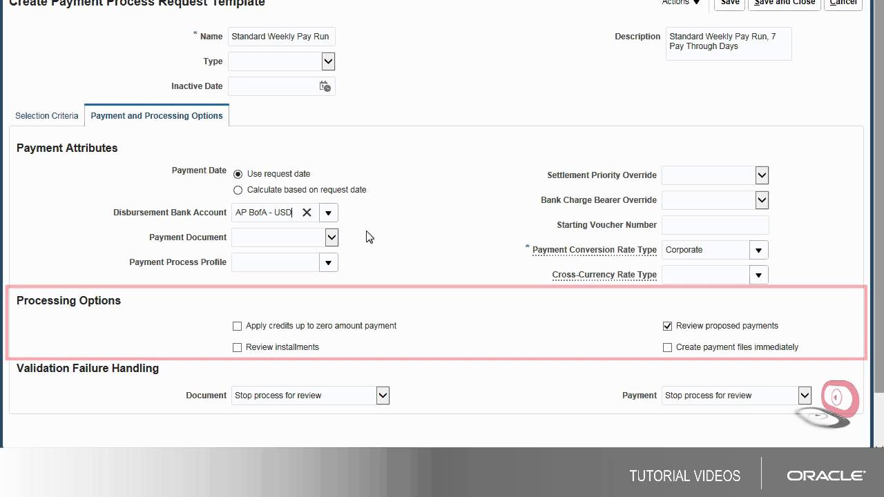 payables creating a payment process request template youtube