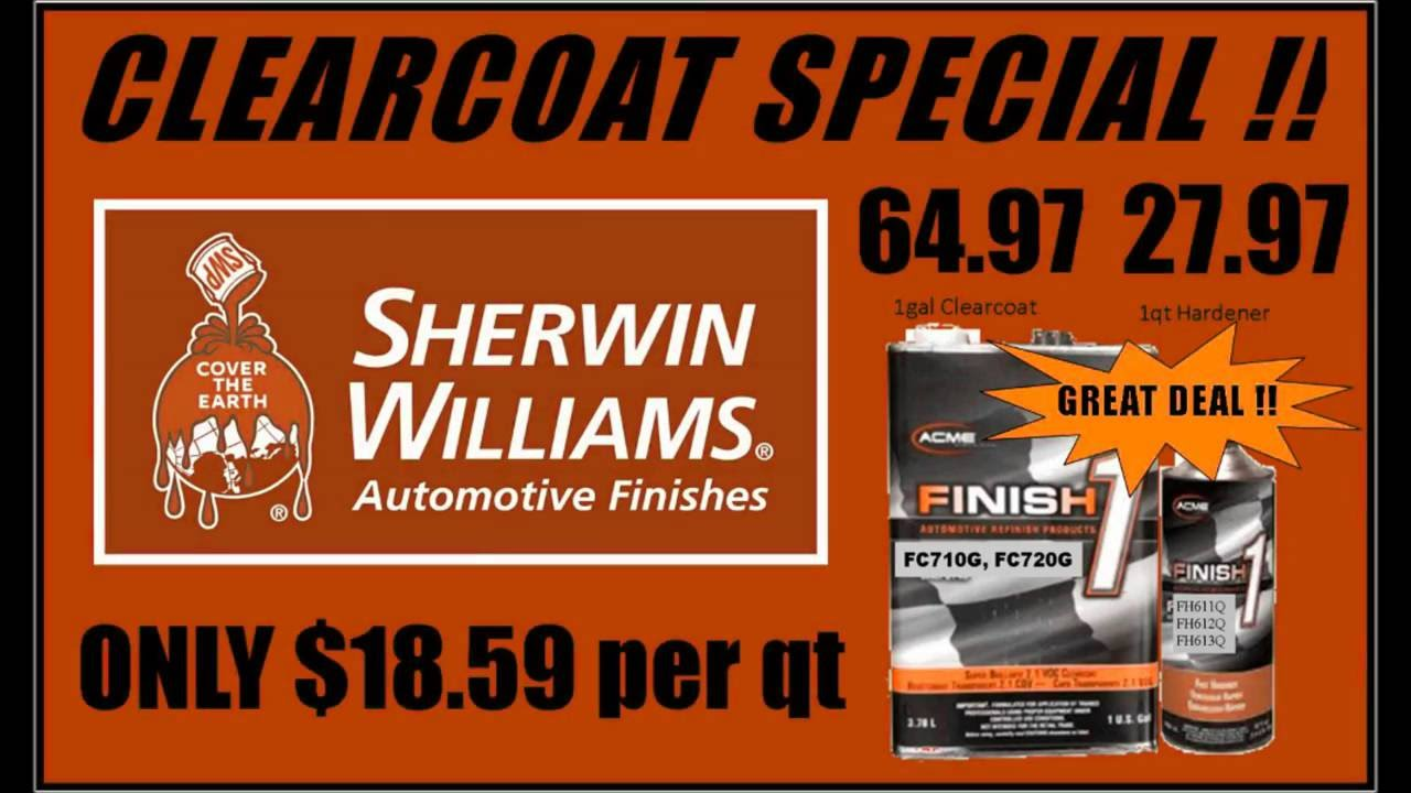 Sherwin williams finish 1 clearcoat 18 59 per quart b l auto parts paint