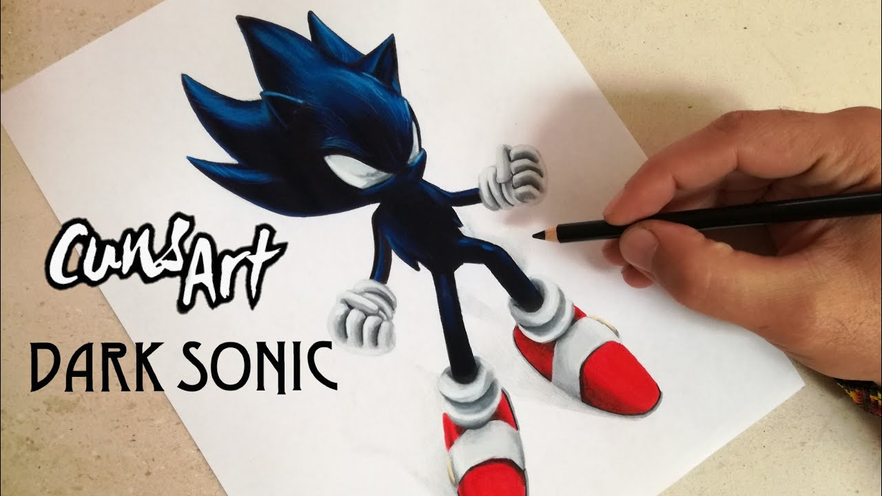 Como Dibujar A Dark Super Sonic Sonic How To Draw Dark Super Sonic Cuns Art
