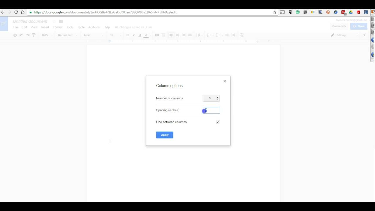How To Insert Columns Into Google Docs YouTube - Google docs columns