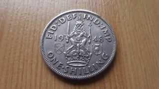 1 Schilling Münze aus England von 1948 - Georgivs VI