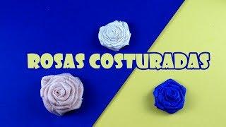 Rosas de Fita de Cetim e Tecido Costuradas á Mão