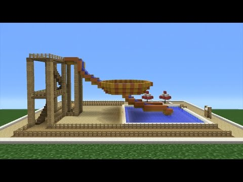 Minecraft Tutorial: How To Make A Bowl Water Slide (Mini Water Park)