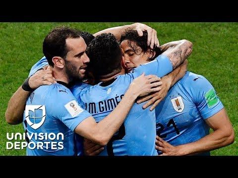 Cavani y Luis Suárez tienen a Uruguay ganando 1-0 sobre Portugal
