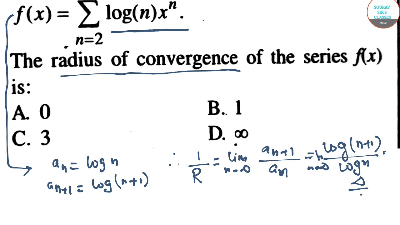 RADIUS OF CONVERGENCE UGC NET ,MATHEMATICAL SCIENCES OBJECTIVE QUESTIONS  ONLINE LECTURES