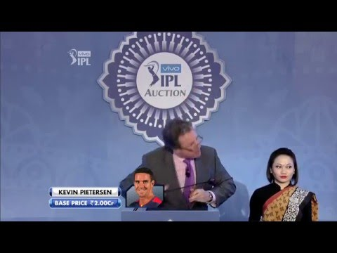 Kevin Peterson IPL 2016 Live Auction Full Bidding Video - Sold to Pune Supergiants (RPSG) for 3.5 Cr