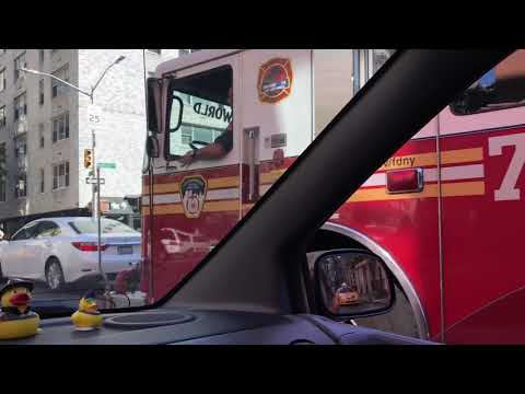 FDNY ENGINE 74 RESPONDING ON EAST 84TH STREET ON THE EAST SIDE AREA OF MANHATTAN IN NEW YORK CITY.