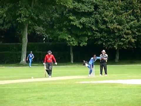 European Championship T20 2011: Munasinghe Shan bowling for Italy vs Gibraltar