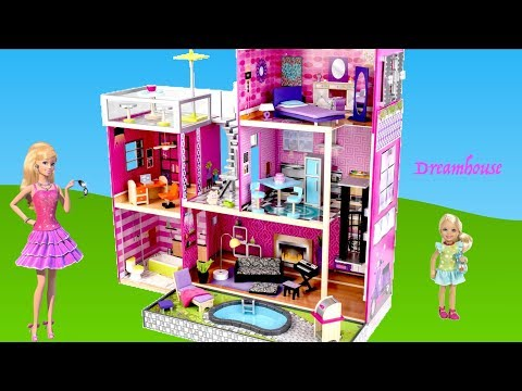 Barbie Dolls 3 story Modern Dreamhouse - KidKcraft Dollhouse Unboxing Assembly Full house Tour