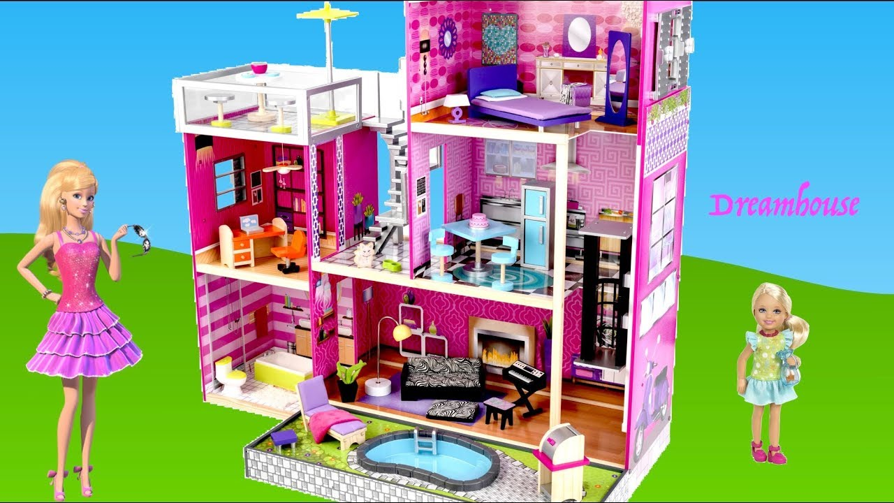Barbie Dolls 3 Story Modern Dreamhouse Kidkcraft Dollhouse Unboxing Assembly Full House Tour Youtube