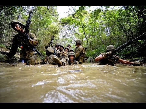 United States marine corps in extreme situations in the jungle.