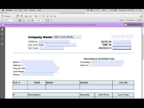 how to make an auto repair invoice | excel | pdf | word - youtube, Invoice templates