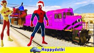 Человек паук катается на большем цветном поезде, мультики про машинки