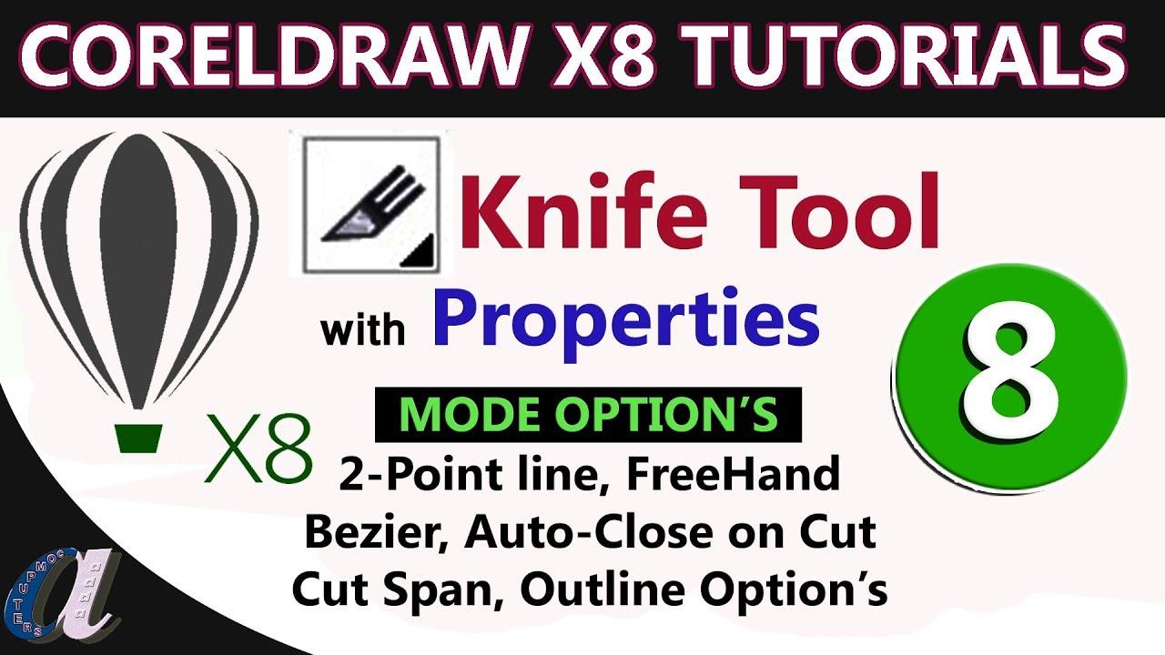 CorelDraw Telugu Tutorials - 08 || Knife Tool with Properties & Text Tool ||