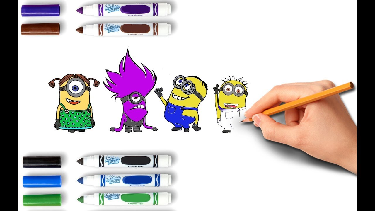 how to draw minion coloring pages for kids children and baby learn