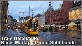Basel Marktplatz und Schifflände / Trams in Basel, Schweiz