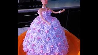 торт КУКЛА БАРБИ . КАК украсить торт кремом