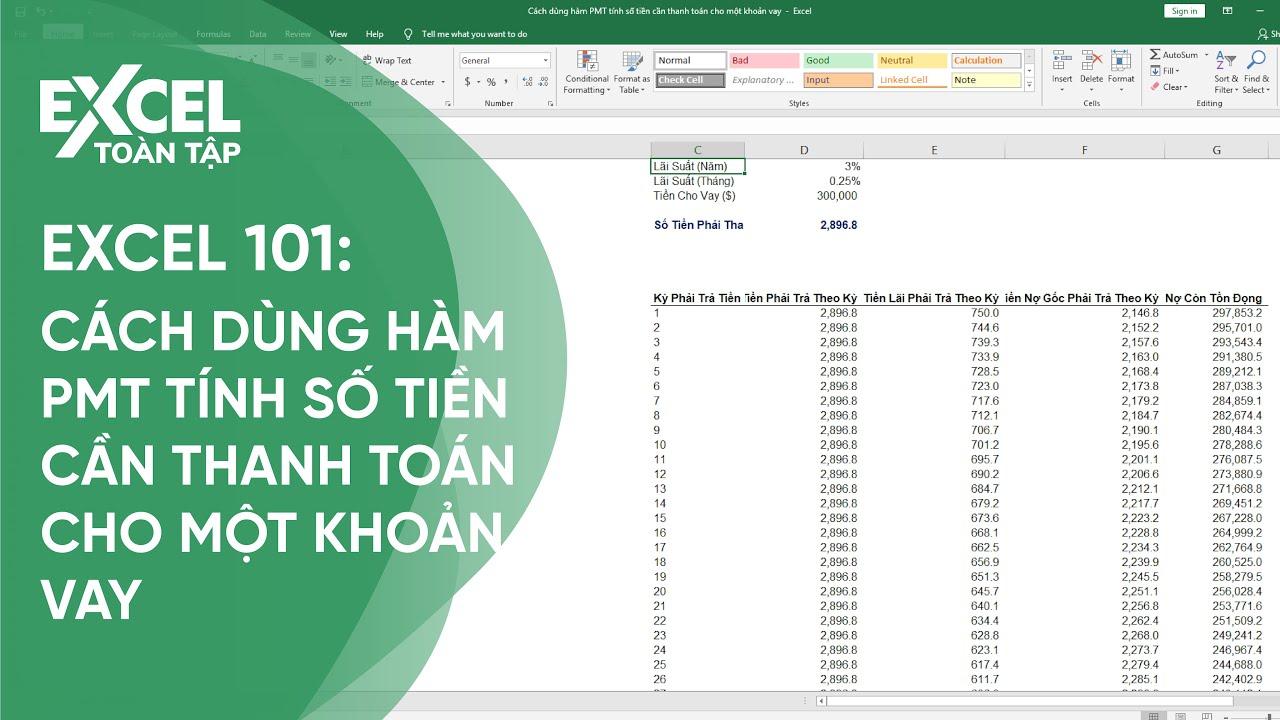 47. Dùng hàm PMT tính số tiền cần thanh toán cho một khoản vay | Khóa học phần mềm văn phòng Excel