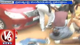 telangana students fights against the regularizaion of contract jobs in state