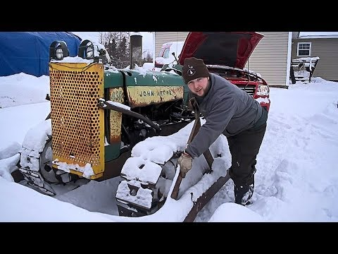 HAPPY NEW YEAR - Plowing Snow with a 70 Year Old Tractor