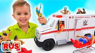 Влад и Никита играют с игрушечной машиной скорой помощи WWE