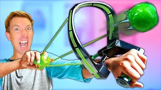 NERF SLIME Weapons vs Fruit Ninja Challenge (Funny Family Friendly Review & Unboxing)