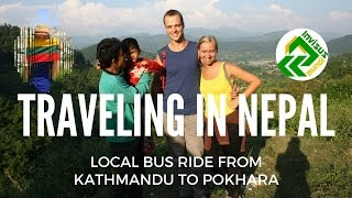 Traveling in Nepal. Local bus ride from Kathmandu to Pokhara