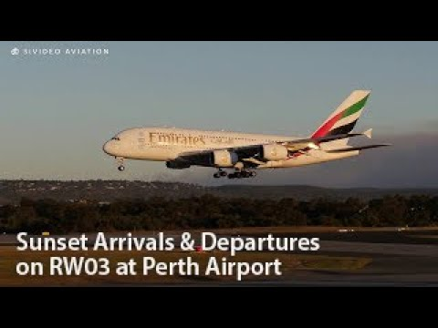 Sunset Arrivals & Departures On RW03 At Perth Airport With Full ATC.