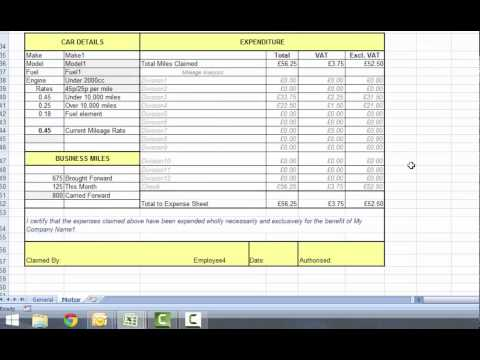 Excel Expenses Form from Accountancy Templates Part 2 - Motor Expenses