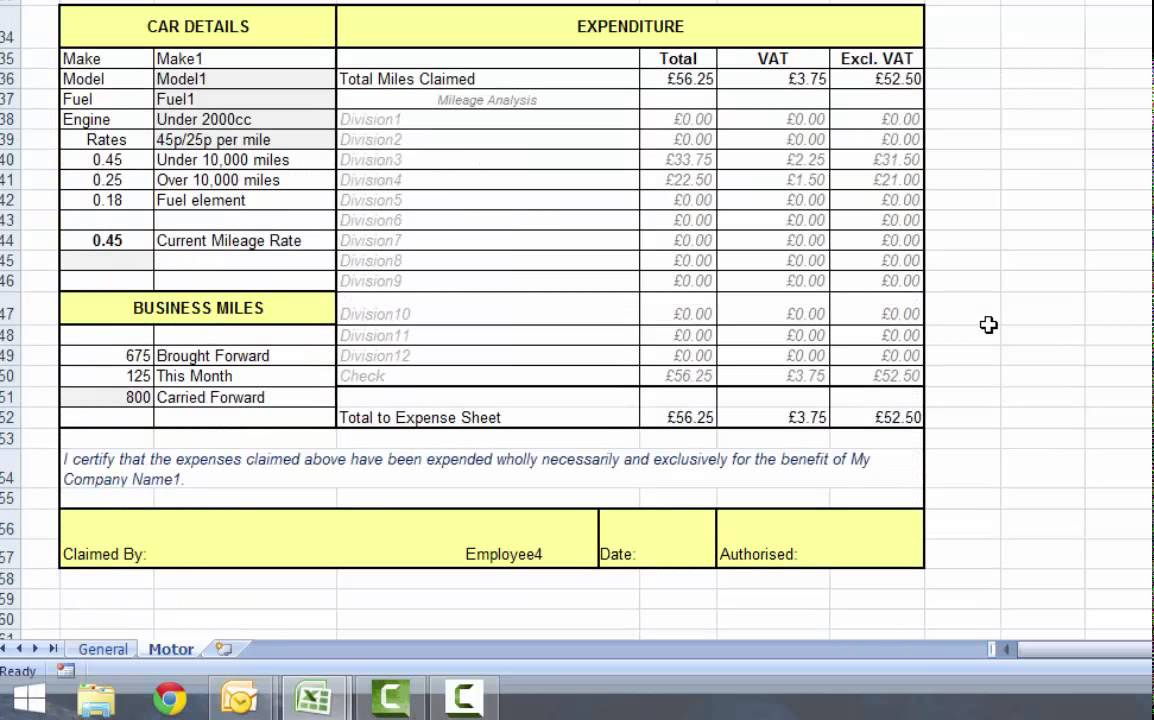 Excel Expenses Form From Accountancy Templates Part 2 Motor Expenses Youtube