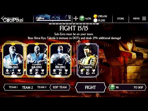 SHIRAI RYU TAKEDA BOSS CHALLENGE REVIEW -Normal/Hard Mode Gameplay &Requirements-Mkx iOS update 1.14