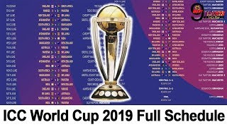 ICC World Cup 2019 Full Schedule Announced – Watch All Team Fixtures & Schedule| ENGLAND AND WALES