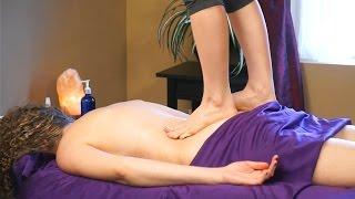 Ashiatsu Barefoot Back Massage Using Feet! Deep Tissue Massage Techniques