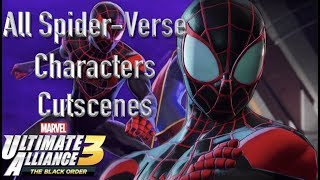 All Spiderverse Characters Cutscenes In Marvel Ultimate Alliance 3 The Black Order Deadpool As Well