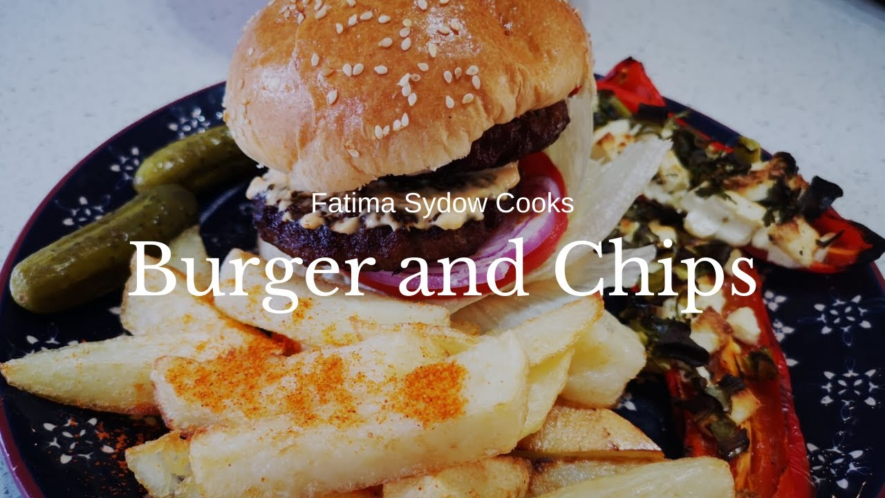 BURGER AND CHIPS WITH MELROSE CHEESE