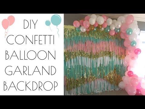 Confetti Streamer Balloon Garland Backdrop | DIY | Simple and elegant
