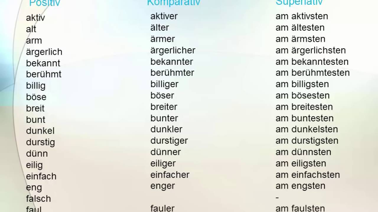 Positive Adjektive