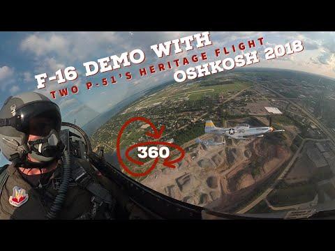 F-16 Viper Heritage Flight with Two P-51 Mustangs Oshkosh   360 VR