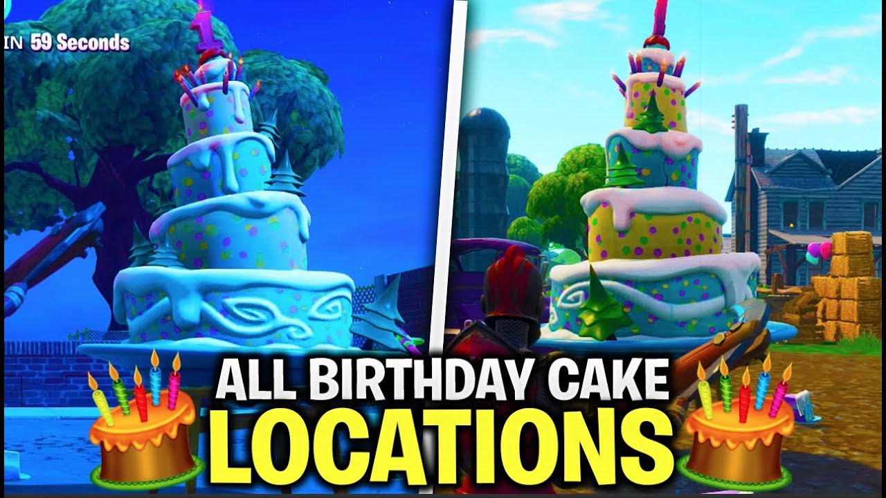 All Birthday Cake Locations In Fortnite All Dance In Front Of