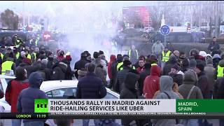 Thousands rally in Madrid against ride-hailing services like Uber thumbnail