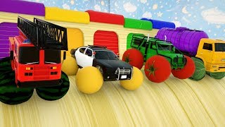 Learn Colors with Police fire cars truck, Fruit Wheel Stick - Cars Cartoon Assembly Tyre