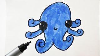 Niedliche Krake Malen Süßen Kawaii Oktopus Zeichnen Für