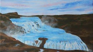 Gullfoss Waterfall, Iceland - Speed Painting