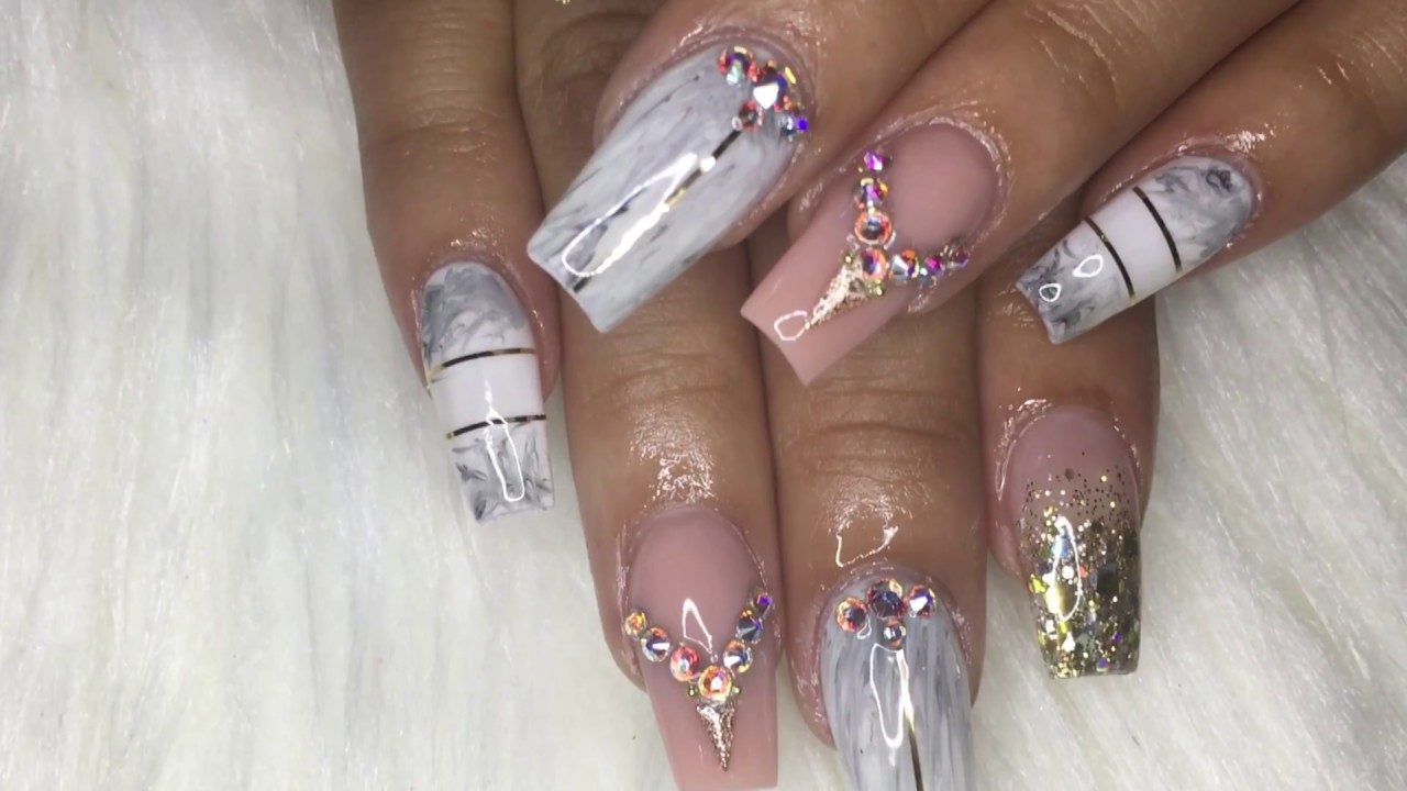 How To White Marble Acrylic Nails Youtube