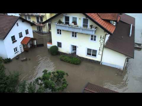 Hochwasser Erlau Bei Passau 04 03 2013 Ostlicher Ortsteil Hotel Zur